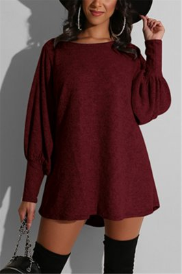 Fashion Sexy Solid Color Wine Red Long Sleeve Dress
