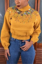 Load image into Gallery viewer, Fashion Slim High Collar Sequin Sweaters