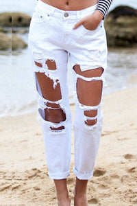 Chic Broken Holes White Denim Pants