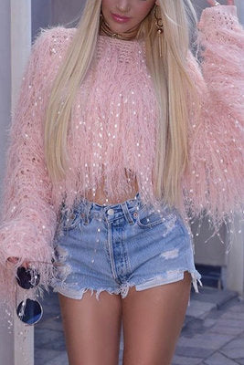 Fashion Sweet Handmade Saggy Knit Pink Top