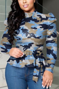 Fashion High Collar Long Sleeve Printed Top (With Belt)