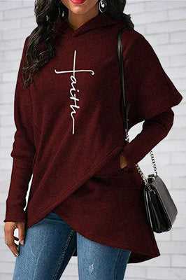 Fashion Long Sleeve Irregular Printed Sweater