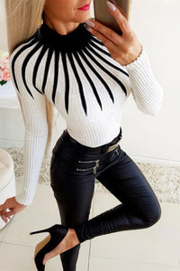 Fashion Casual Patchwork Turtleneck White Top