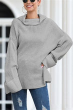 Load image into Gallery viewer, Fashion Loose High Collar Split Sweater
