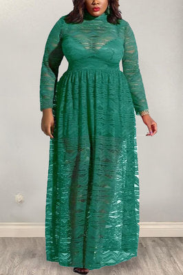 Sexy Lace Round Neck Zipper Long Sleeve Green Dress