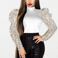 Load image into Gallery viewer, Fashion Sequined Mesh Long Sleeved Mid Neck Top