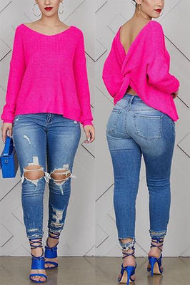 Fashion Cutout Back Solid Tops