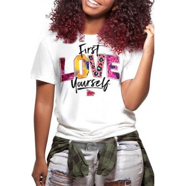 Fashion Casual O Neck Letter Printed Multicolor T-shirt