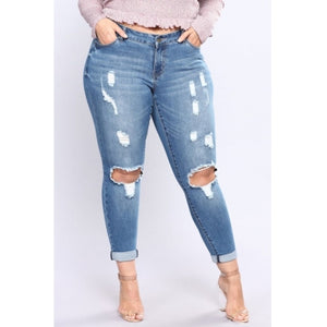 Fashion Hollow-out Skinny Blue Plus Size Jeans