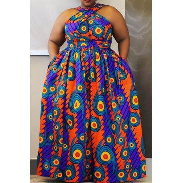 Fashion Casual Printed Blue Floor Length Plus Size Dress