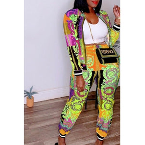 Fashion Leisure Printed Two-piece Pants Set