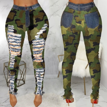 Fashion Broken Holes Camouflage Printed Jeans