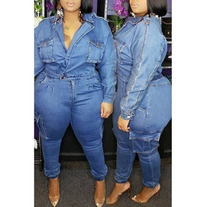 Fashion  Casual Pocket Patched Blue Plus Size One-piece Jumpsuit