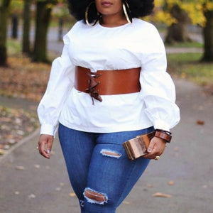 O Neck White Blouse(Without Belt)