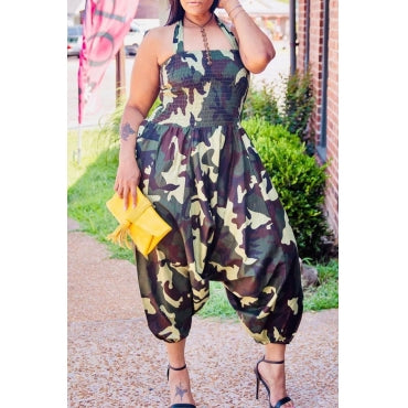 Fashion Camouflage Printed Army Green Plus Size One-piece Jumpsuit