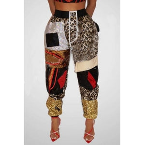 Fashion Patchwork Printed Pants