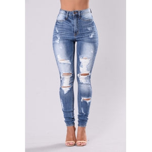 Fashion High Waist Broken Holes Jeans