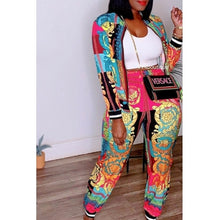 Load image into Gallery viewer, Fashion Leisure Printed Two-piece Pants Set