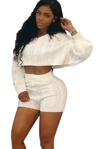 Sexy Knit Crop Sweater Short Sets