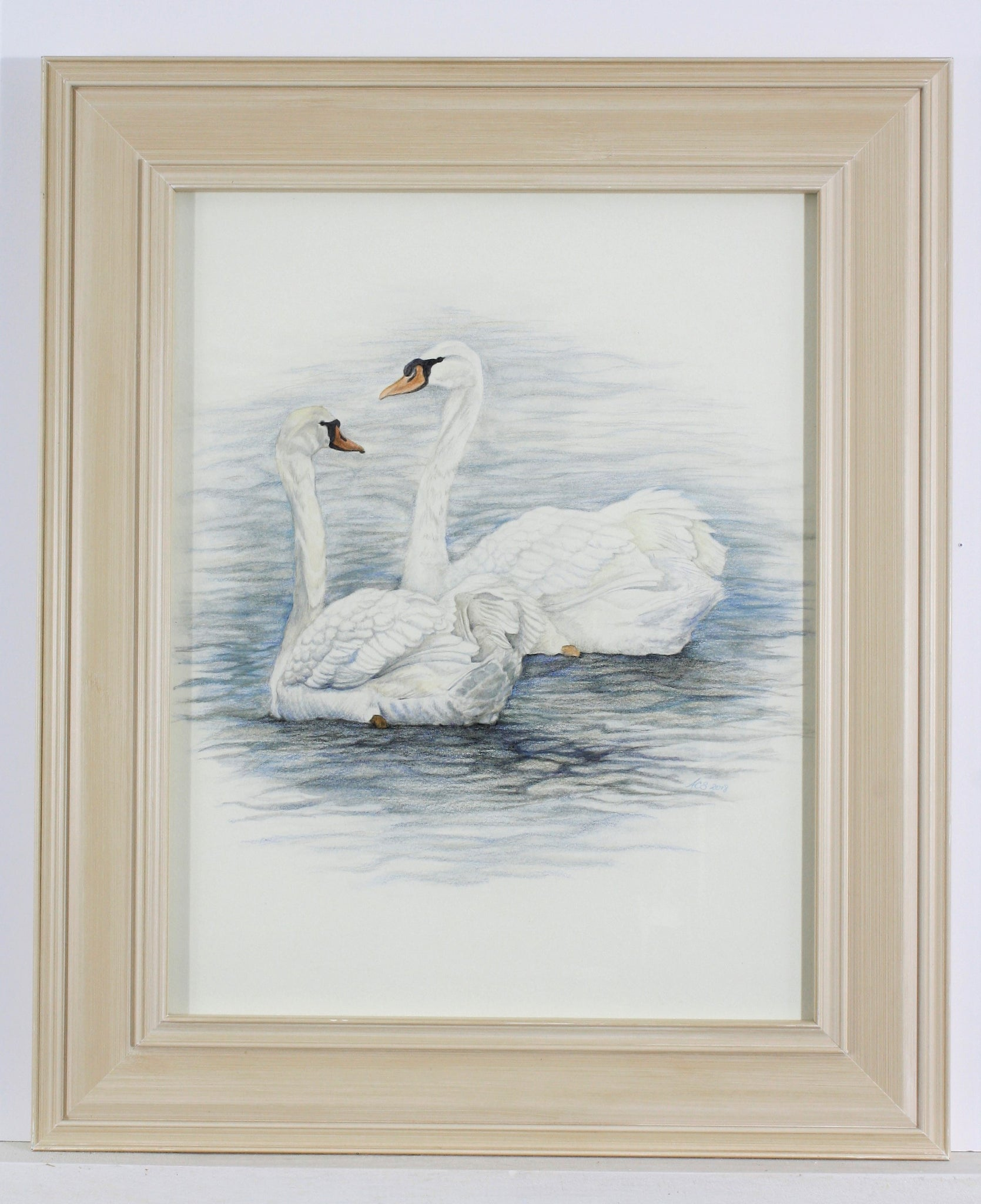 Watercolor Swans in Cream Frame