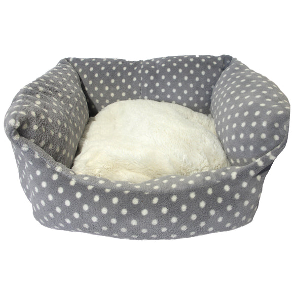 Rosewood Grey Cream Spot Doggy Bed