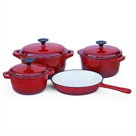 Fine Living Cast Iron - 7 Piece - Double red