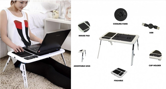 Portable Desk E-Table Black/White