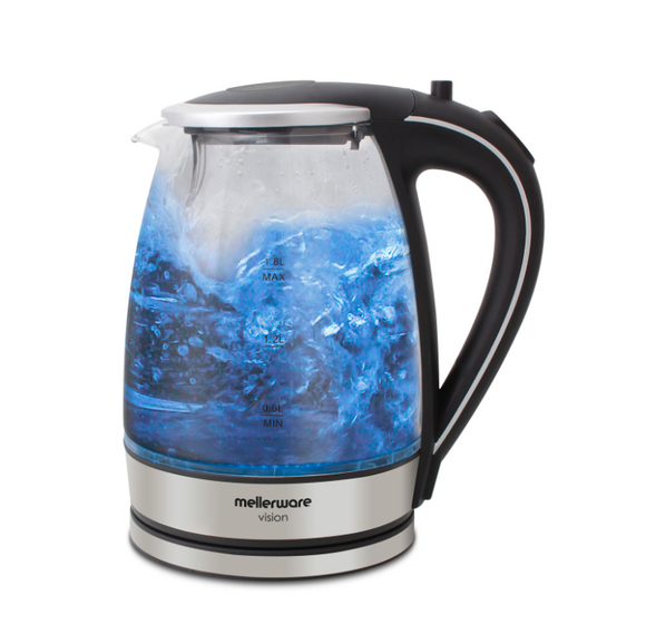 Mellerware Kettle 360 Degree Cordless Glass Silver 1.8L 2200W