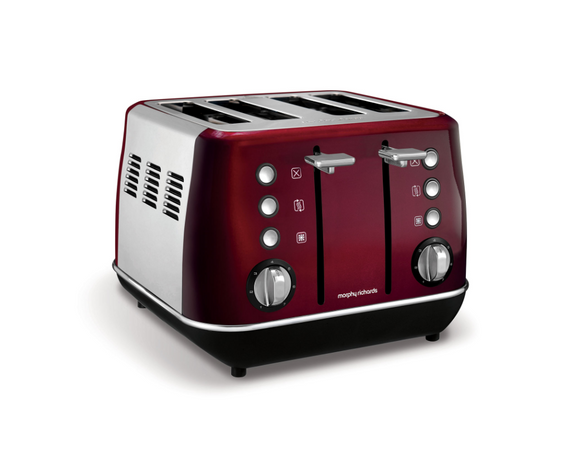 Morphy Richards Toaster 4 Slice Stainless Steel Red 1800W