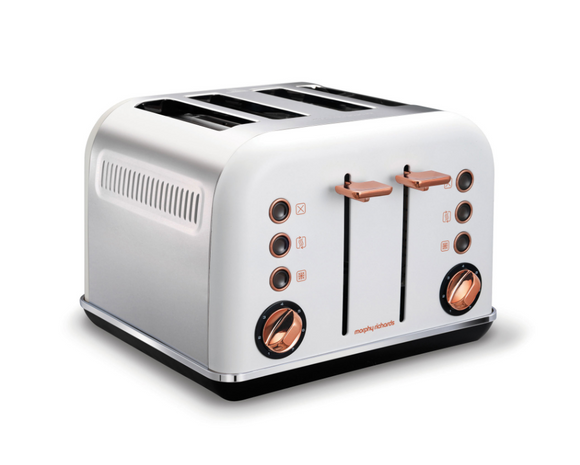Morphy Richards Toaster 4 Slice Stainless Steel White 1800W