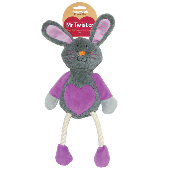 Dog Toy | Rosewood Mister Twister Ruby Rabbit (44cm)