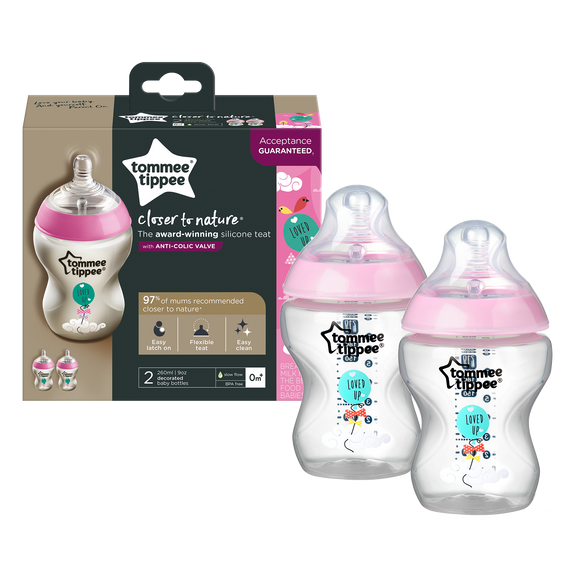 Tommee Tippee | CTN 260ML BOTTLE 2PK - DECORATED GIRL 0M+ (PINK)