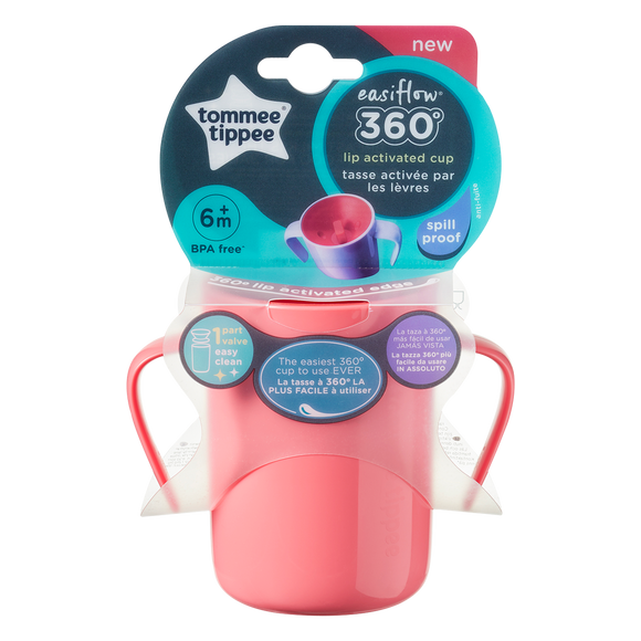 Tommee Tippee EXPLORA 360 HANDLED BABY BEAKER 200ML - RED 6M+