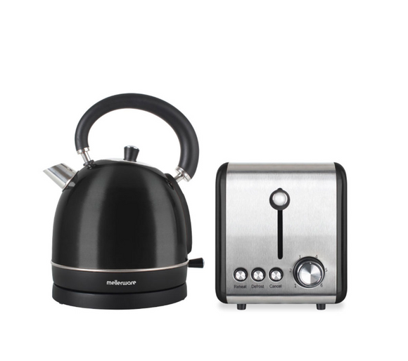 Mellerware Pack 2 Piece Set Stainless Steel Black Kettle And Toaster
