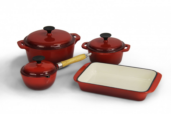 Fine Living - Lifestyle Cast Iron Cookware Set 7pc - Red