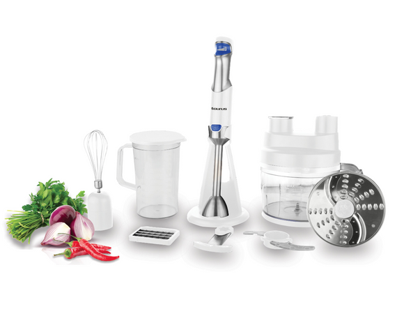 Taurus Food Processor With Attachments Stainless Steel White 1.8L 800W