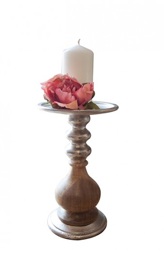 ALUMINIUM / WOODEN CANDLE HOLDER 48CM SML