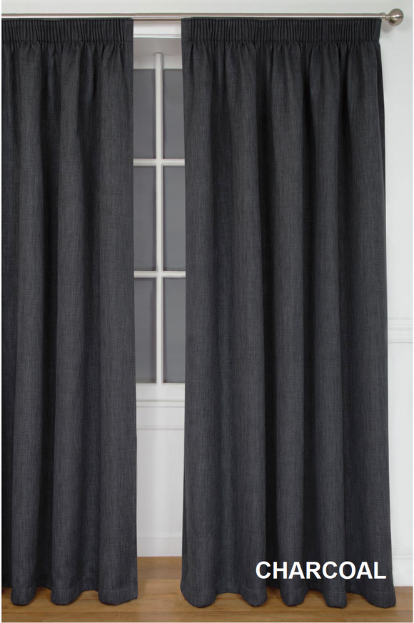 Simon Baker | Amalfi Tape Curtain Charcoal (Various Sizes)