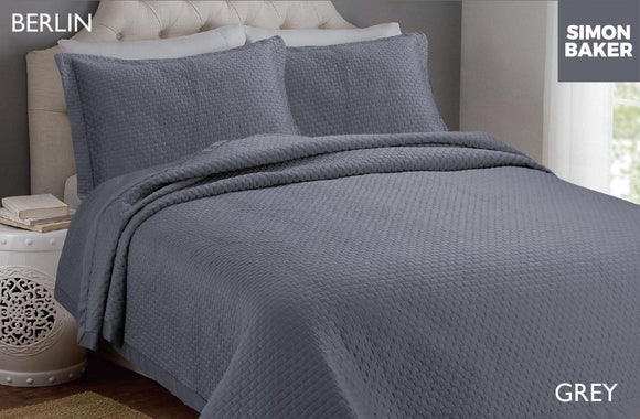 Simon Baker | Berlin Bedspread Grey (Various Sizes)