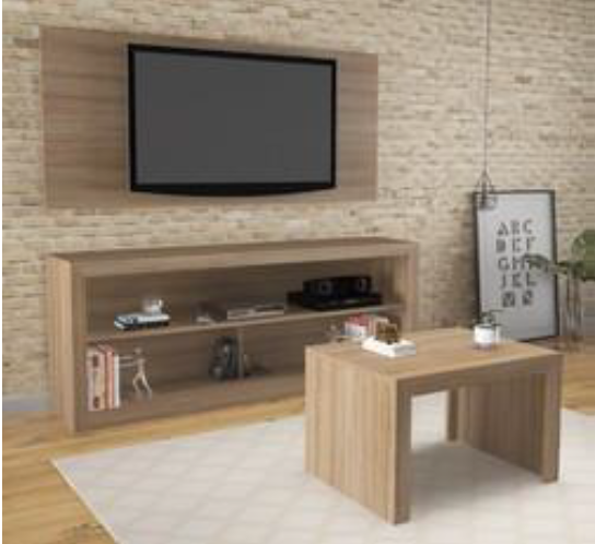 3 Piece TV Unit Set - Almond (Wall Board, TV Unit & Coffee Table)