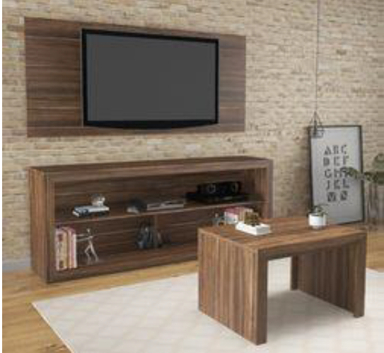 3 Piece TV Unit Set - Walnut (Wall Board, TV Unit & Coffee Table)