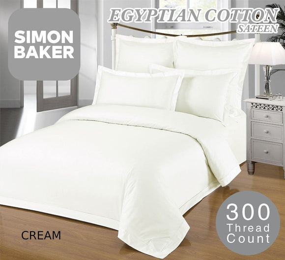 Simon Baker | 300 Thread Count 100% Egyptian Cotton Fitted Sheet XL Cream (Various Sizes)