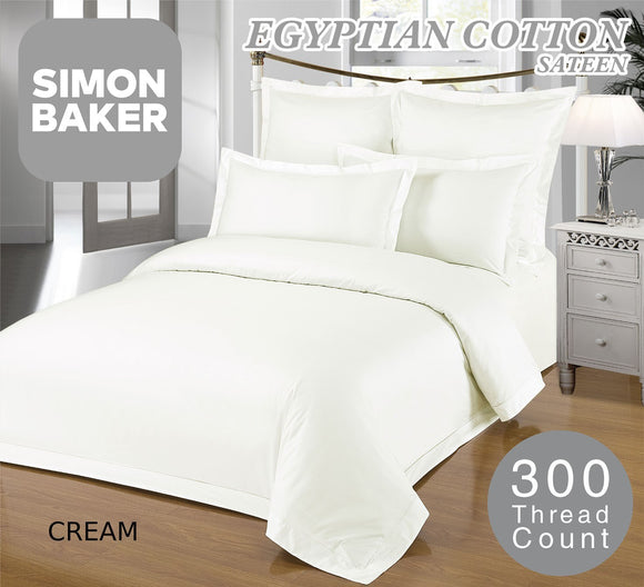 Simon Baker | 300 Thread Count 100% Egyptian Cotton Oxford Satin Stitched Duvet Cover Cream (Various Sizes)