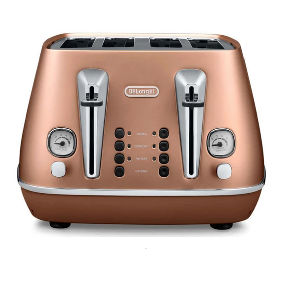 DELONGHI Distinta 4 Slice Toaster - Style Copper