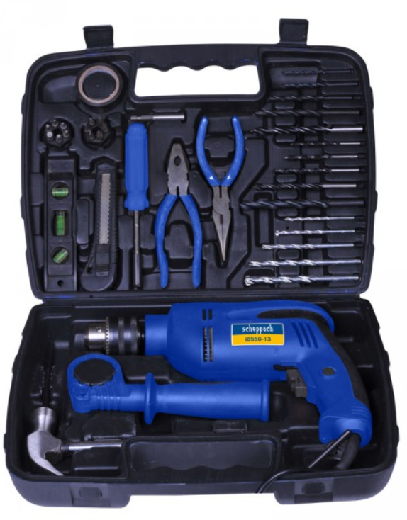 Scheppach | 13mm Impact Drill Kit, 43pce, variable speed reversible, soft grip