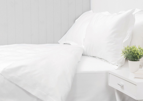 550 Thread Count White Queen Duvet Cover Set