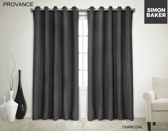 Simon Baker | Provance Eyelet Curtain Charcoal (Various Sizes)