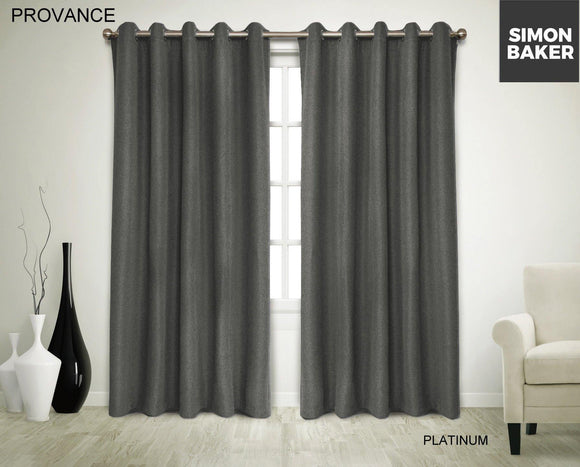 Simon Baker | Provance Eyelet Curtain Platinum (Various Sizes)