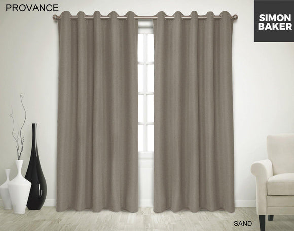Simon Baker | Provance Eyelet Curtain Sand (Various Sizes)