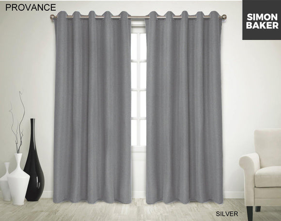 Simon Baker | Provance Eyelet Curtain Silver (Various Sizes)